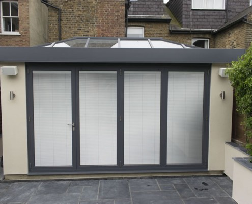 External view of conservatory with blinds down