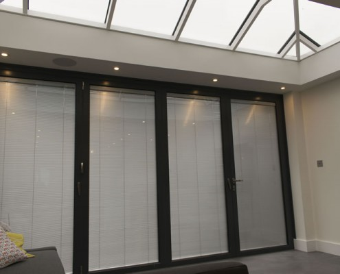 Internal view of conservatory with blinds down