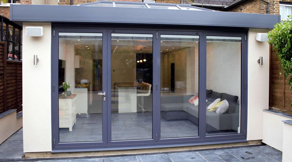 Grey aluminium conservatory