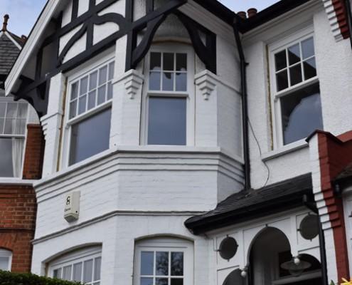 White timber sash windows