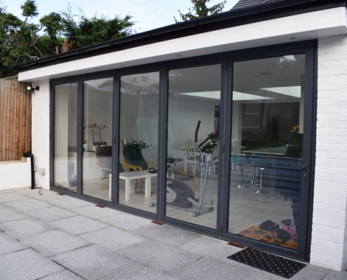 Grey bifolding doors