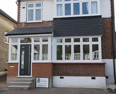 Flush casement windows and composite front door