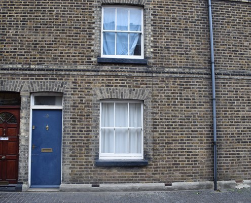 Old timber windows and door at front
