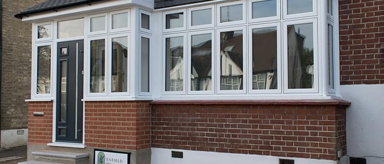 White casement front windows