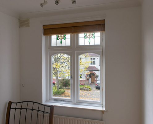 Single white timber casement window interior