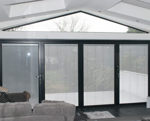 Interior view of bifold door installation