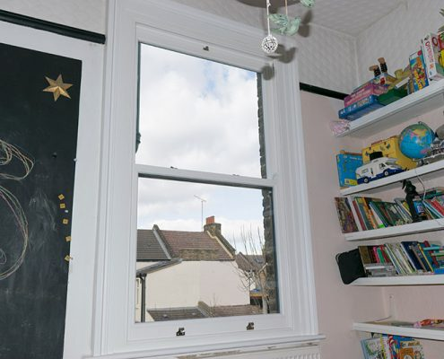 Single timber sash window interior