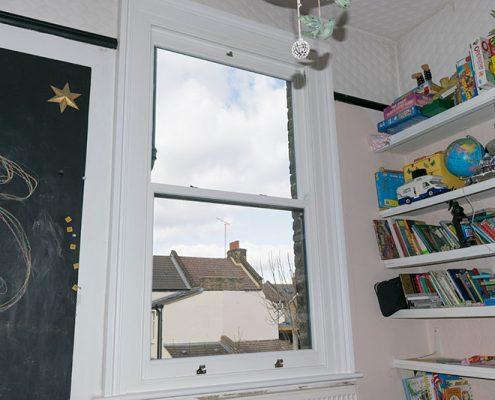 Single timber sash window interior