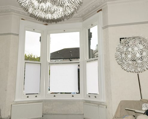 Interior of timber window installation