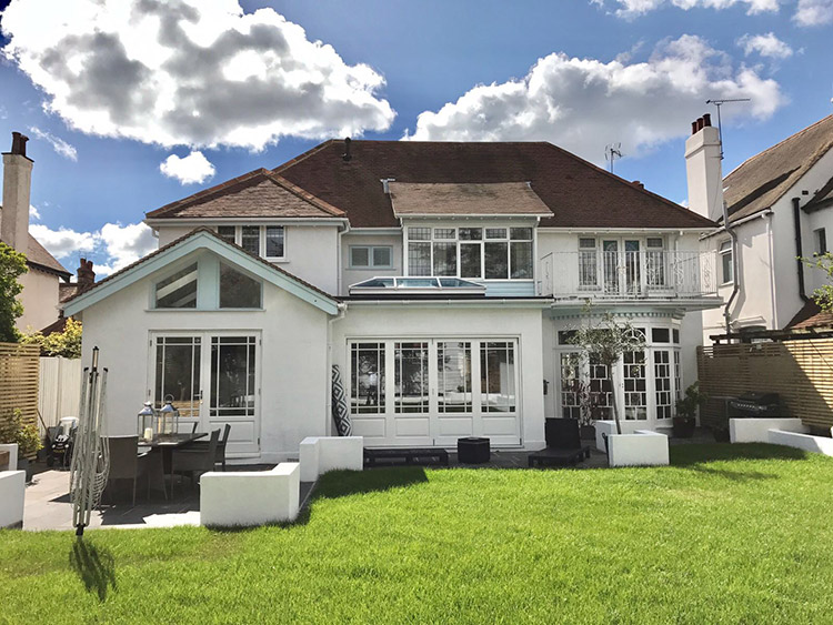 Timber bi-fold French doors, windows and skylight installation in ...