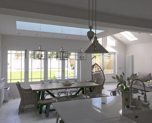 Interior of white timber bifold doors