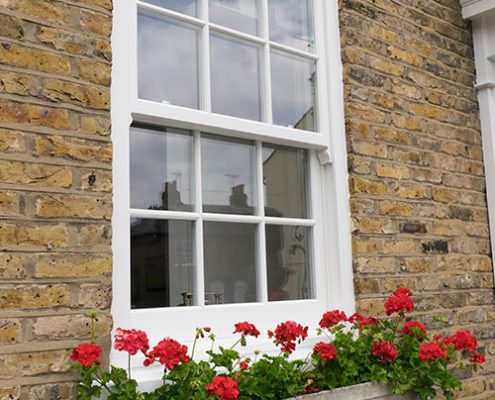 Timber sash window external view