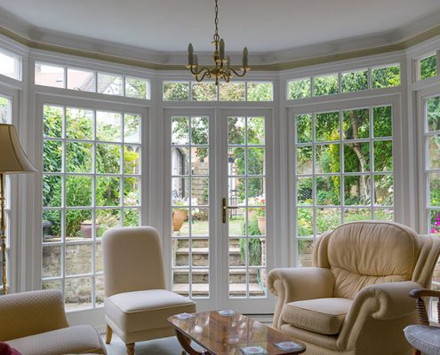 Internal view of timber french bay doors