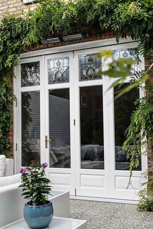 Timber Bifold Doors With Stained Glass Windows In Finchley North London