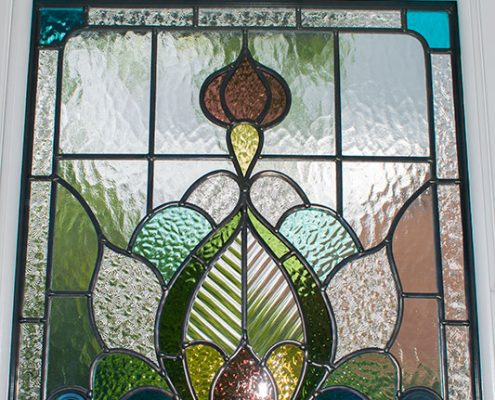 External view of stained glass panel