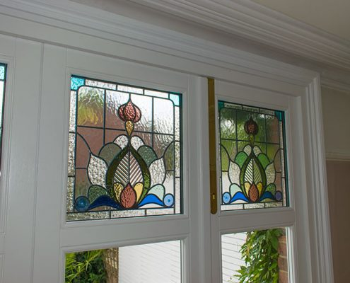 Internal view of stained glass panels