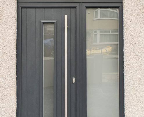 Dark grey composite door installation