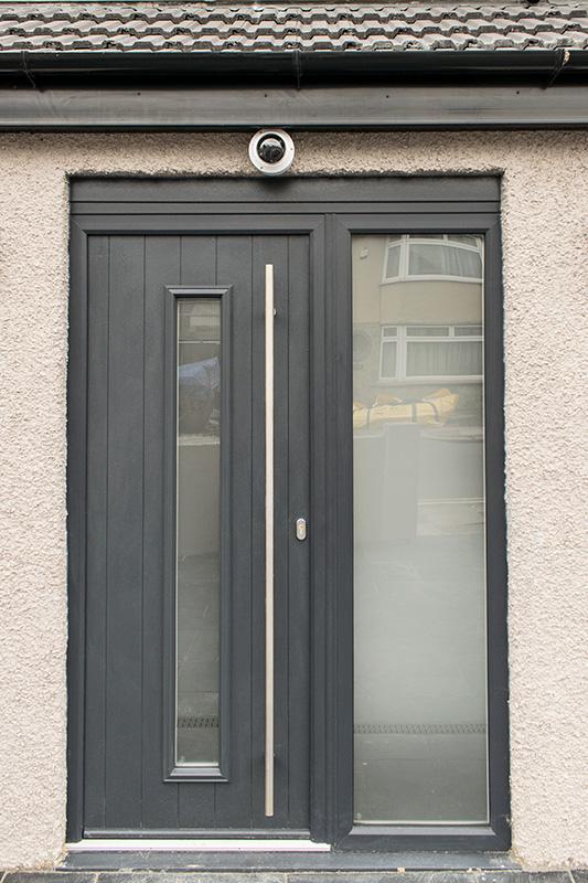 Dark grey composite door installation