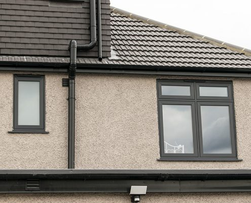 Flush uPVC grey casement windows
