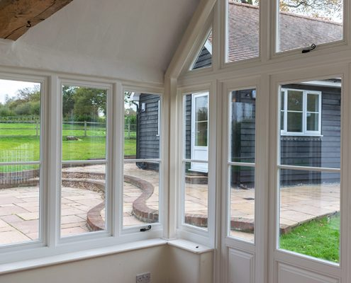 Interior view of white timber windows
