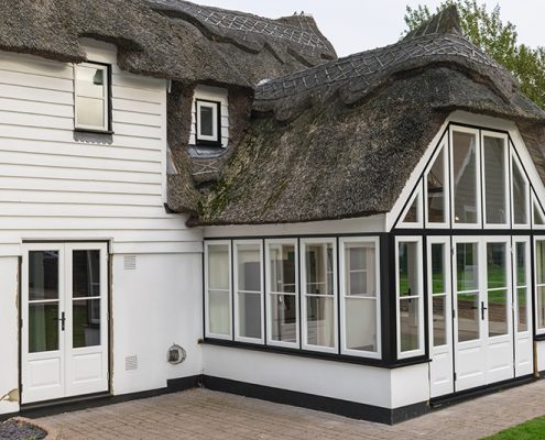 White timber windows and doors