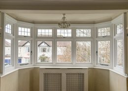 Interior view of white timber bay window