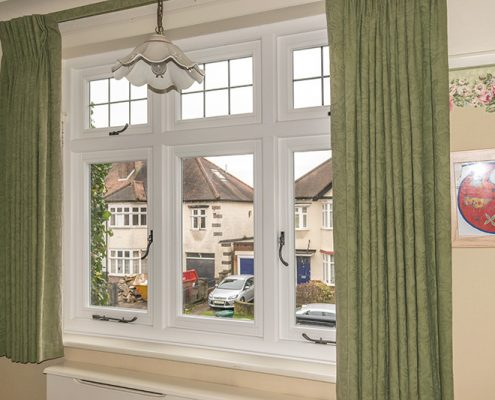 Interior view of white timber casement window