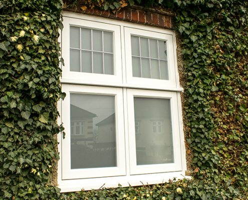 White casement timber window