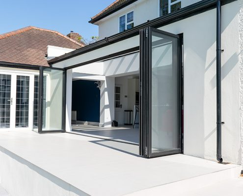 Black open bifold doors
