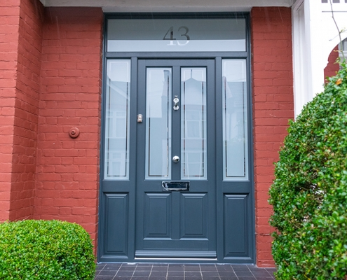 Grey timber front door