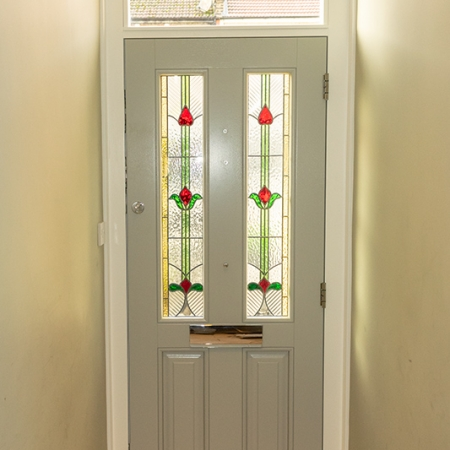 Grey internal view of timber door
