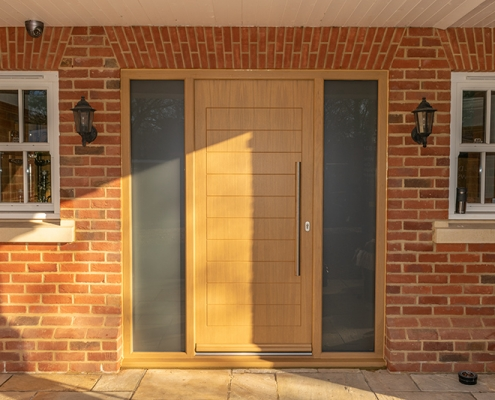Oak front door with glazing panels
