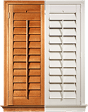 White and timber window shutters