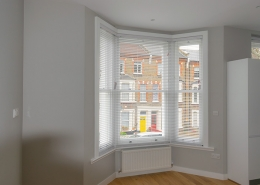 Interior of timber bay sash window