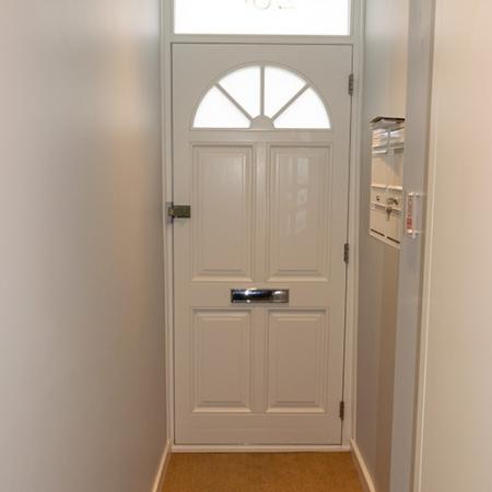 Interior view of timber front door