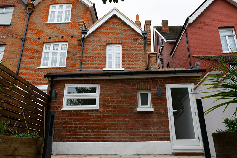 Timber windows at rear of house in Cricklewood