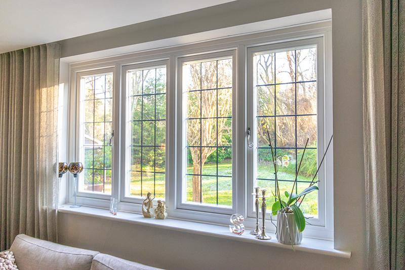 White timber windows interior view