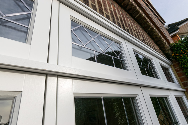 Leaded detailing in timber windows