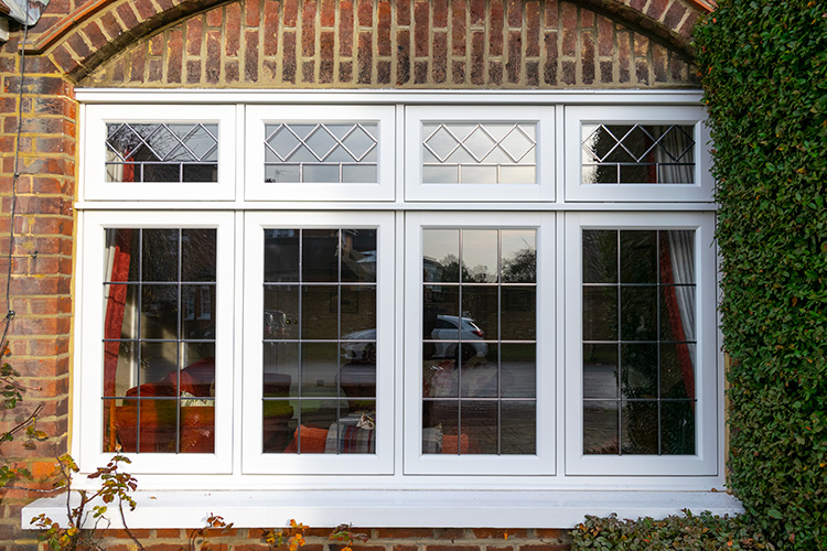 White wooden double glazed window