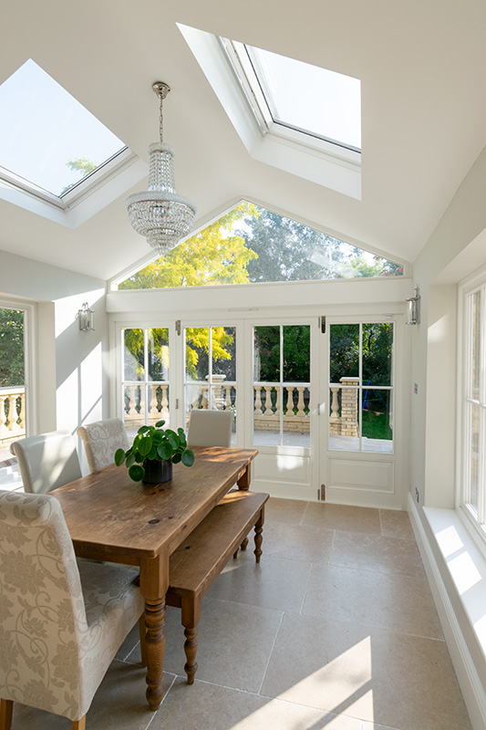 Interior view of timber bifold doors