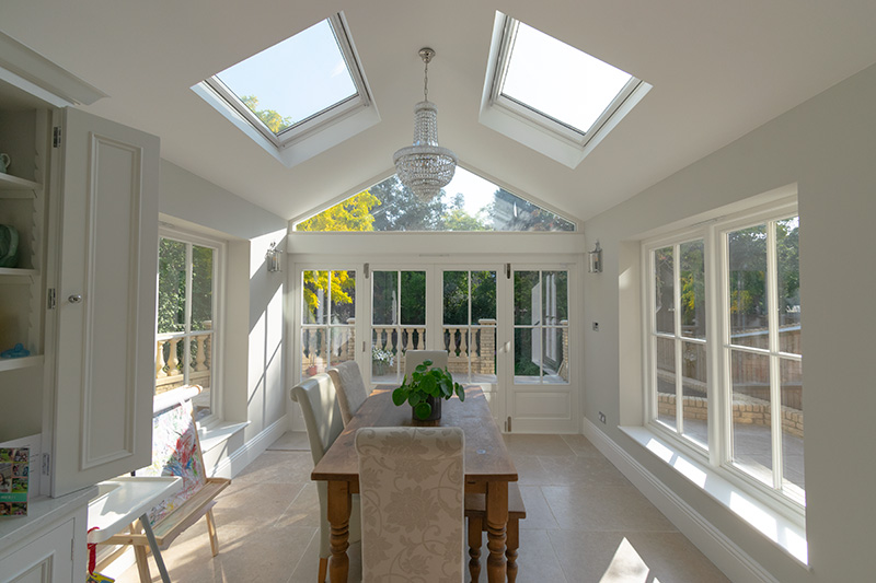 Internal view of kitchen extension with bifold doors