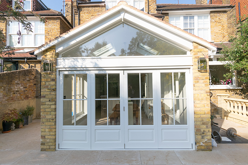 Timber bifold doors on extension closed
