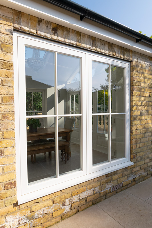 White timber casement windows