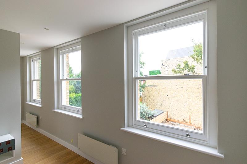 Interior of timber sash windows