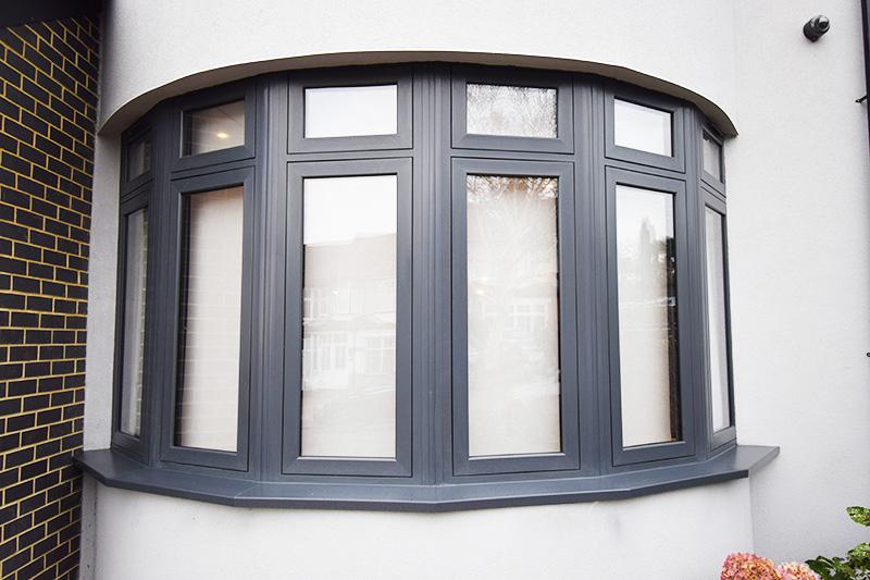 uPVC grey bay window