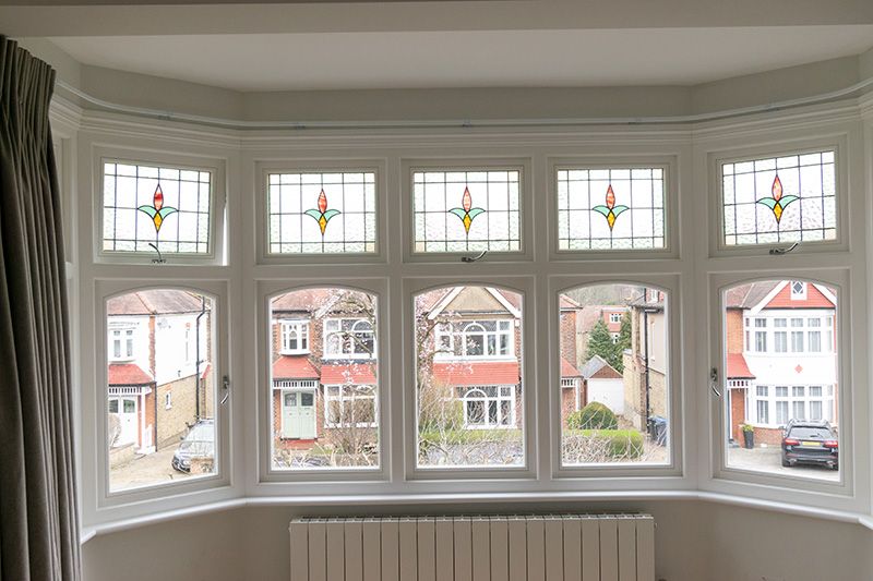 Interior view of timber bay window