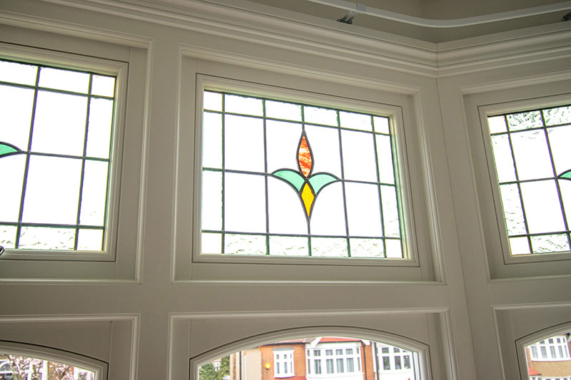 Interior view of Stained glass fan light