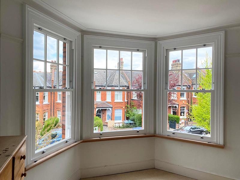 Interior of sash windows