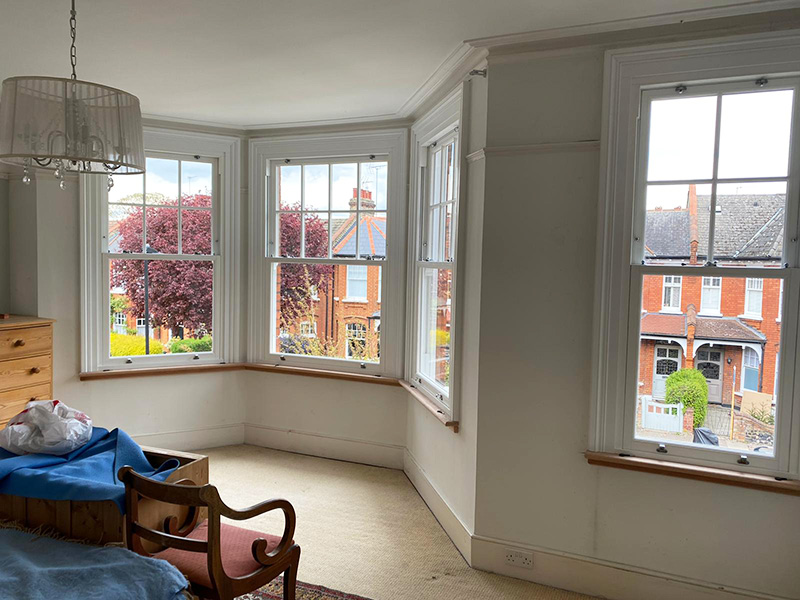 Interior view of sash windows