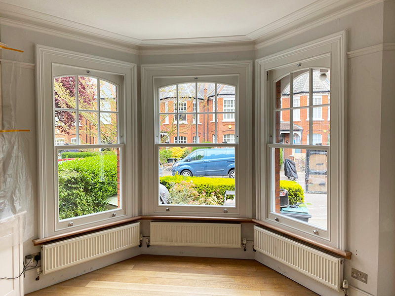 Interior view of timber sash windows